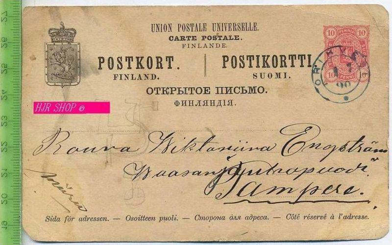 Postkarte, Carte Postale Filande, 10 Penni rot Gelaufen: 6.07.1890/ Orihvesi