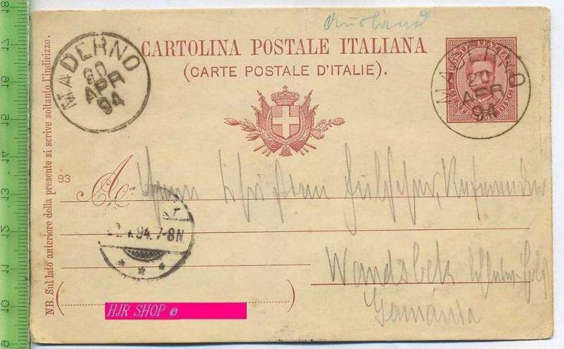 Postkarte, Carte Postale Italiana,  Gelaufen: 20.04.1894/ Maderno