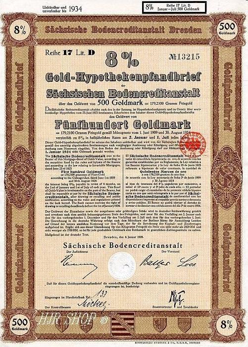 Gold – Hypothekenpfandbrief Der Sächsischen Bodencreditanstalt