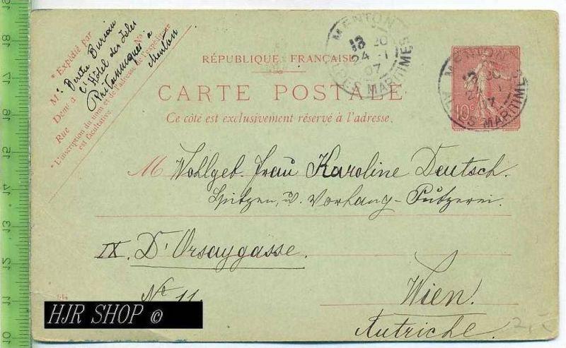 Postkarte, Menton, France Gest. 24.01.1907