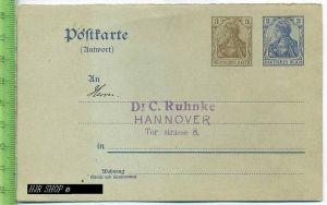 Postkarte, Deutsches Reich  3+2 Pf Germania