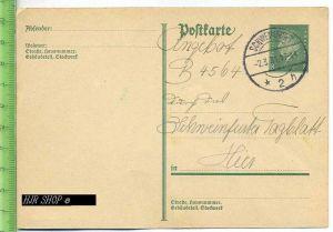 Postkarte, Deutsches Reich, Schweinfurt  8 Pf, grün