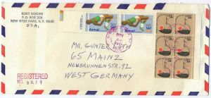 29. Nov. 1979 Brief, New York- Mainz, Airmail, 1396 6er Block