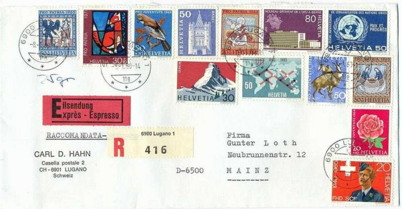 08. Jan. 1980 Brief, Lugano- Mainz, EXPRESS