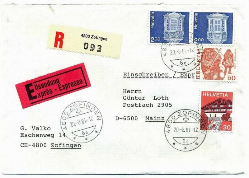 R- Brief, 20.08.1981, Express, Zofingen – Mainz,