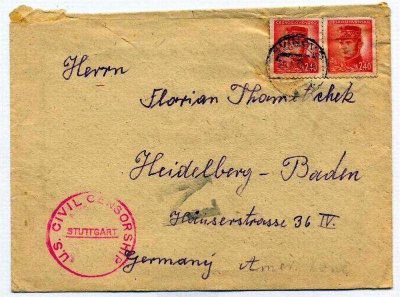 Zensurpost 1 x  Beleg mit us-amerikanischer  Zensur. 29.01.1947