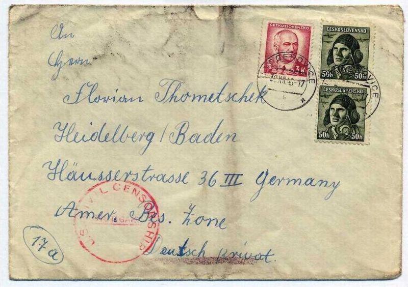 Zensurpost 1 x  Beleg mit us-amerikanischer  Zensur. 30.12.1946