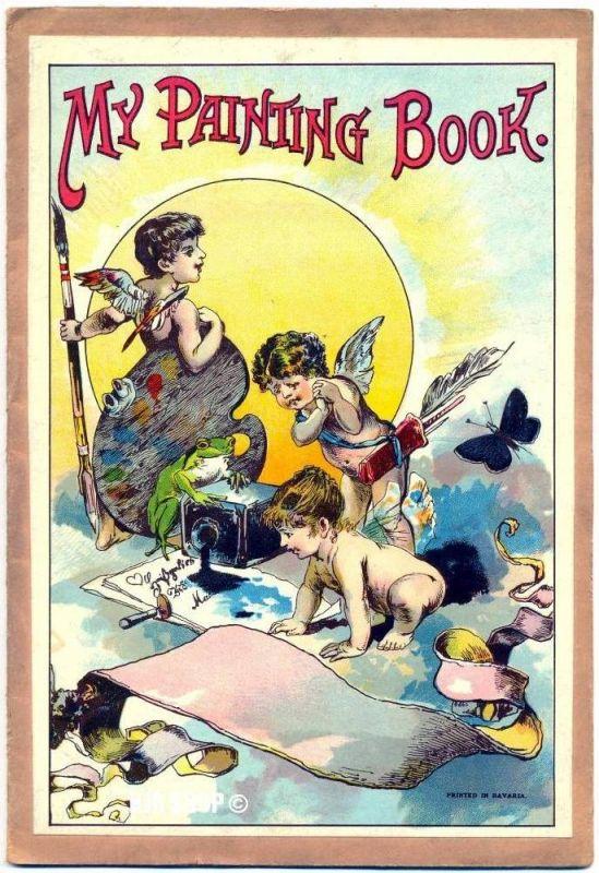 My Painting Book, Kinder-Malbuch unbenutzt 7 Seiten, älter um 1900