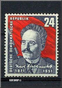 1951, 7. Okt. 80 Geburtst. Karl Liebknecht, Minr. 294**,24 Pf.