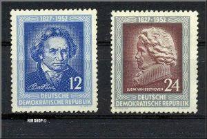 1952, 26. März. 125. Todestag, Ludwig von Beethoven, Minr. 300, 301**, 12Pf, 24 Pf
