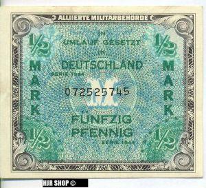 Deutschland unter alliierter Besetzung 1945-1948 Rosenberg 200a. 1/2 Mark 1944