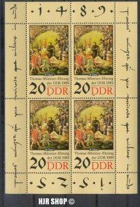 1989,22. Aug. 500. Geb. Thomas Müntzer, Kleinbogen Minr.3271** Zustand: Gut