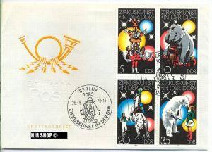 FDC 1978, 26.Sept. Zirkuskunst in der DDR, MiNr.2364-2367,  Zustand: sehr Gut