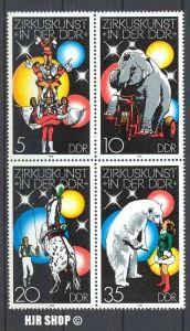 1978, 26. Sept. Zirkus in der DDR, Viererblock MiNr.2364-2367**, Zustand: Sehr Gut