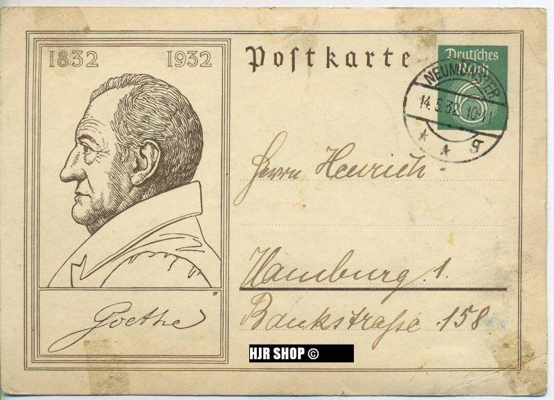 Postkarte, gelaufen 14.05.1932, Fleckig