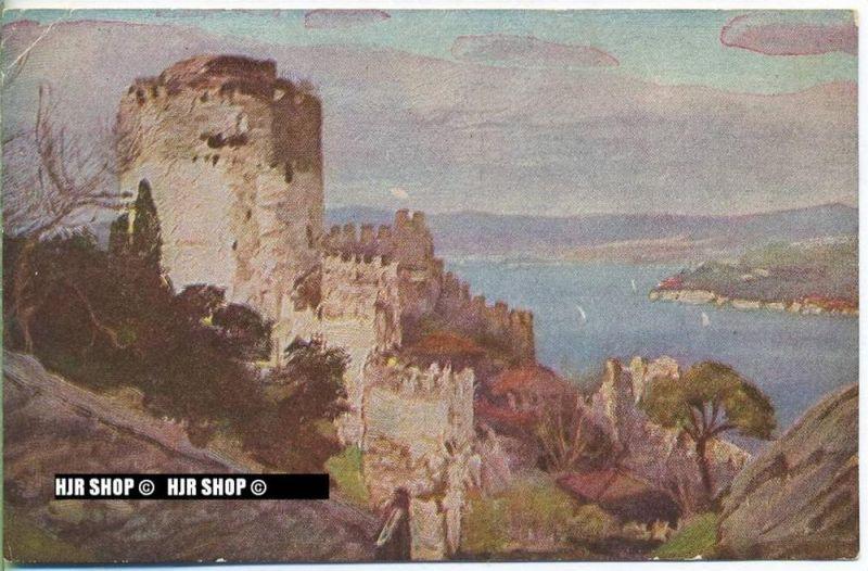 """um 1910/1920 Ansichtskarte, FELDPOST """" Kastell Rumeil Hissar am Bosporus"""" mit Stempel"""