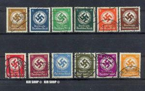 1934, Dienstmarken, Satz 12 W, Minr.132-143 gest.