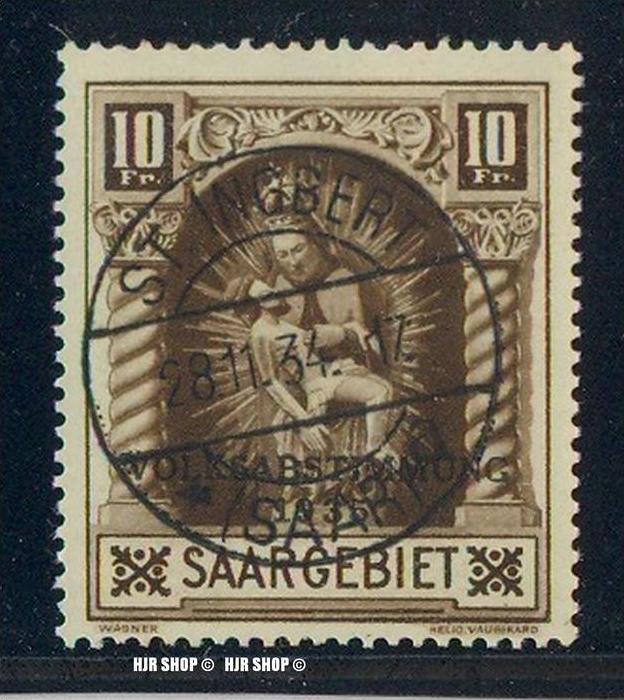 1934, Volksabstimmung 1935, 10 Fr. Madonna  Saar 1934, MiNr. 194 Gest.