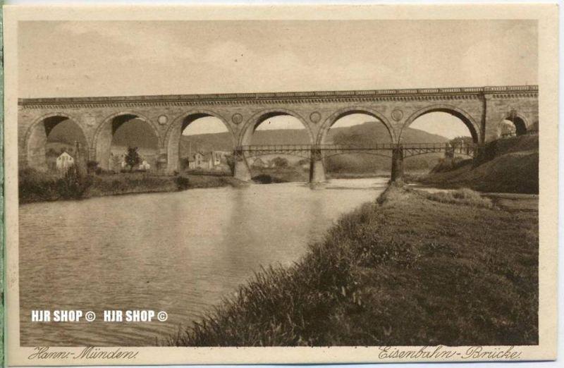 """um 1920/1930 Ansichtskarte  """"Hann- Münden, Eisenbahn-Brücke ,""""  ungebrauchte Karte"""