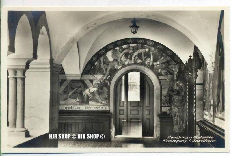 """um 1920/1930 Ansichtskarte,  """"Konstanz, Kreuzgang im Inselhotel """"  ungebrauchte Karte"""