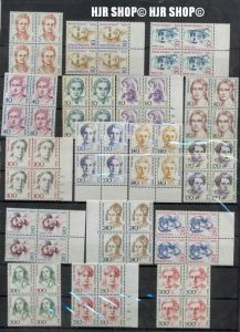 1986-1989, Berlin Frauen, 4er Block teilweise mit Rand, 4 x Satz 17 W **