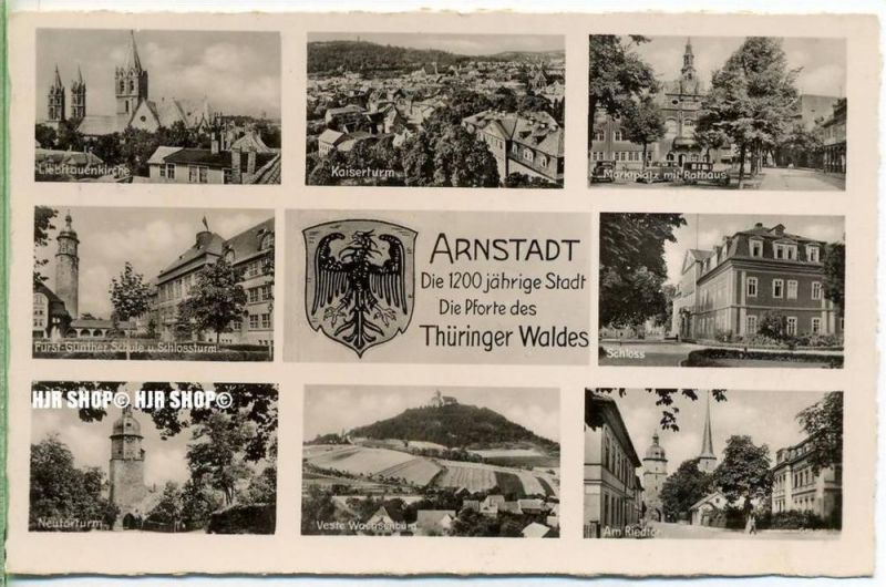 """um 1940/1950  Antsichtskarte,  """"Besucht Arnstadt  """" mit Frankatur, Stempel,"""