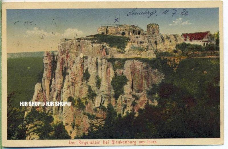 """um 1920/1930  Antsichtskarte,  """"Der Regenstein im Harz  """" mit Frankatur, Stempel,"""