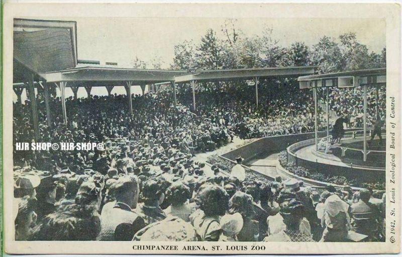 """um 1940/1950 Ansichtskarte,  """"Chimpanzee Arena""""  ungebrauchte Karte"""