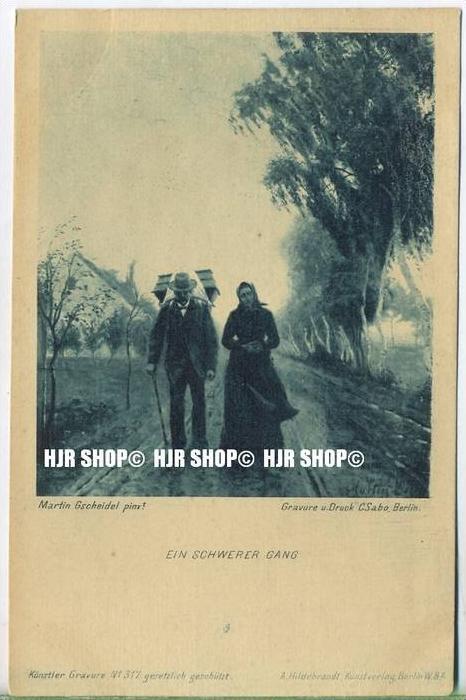 """""""Ein schwerer Gang""""   um 1900/1910,  Ansichtskarte, ungebrauchte Karte"""