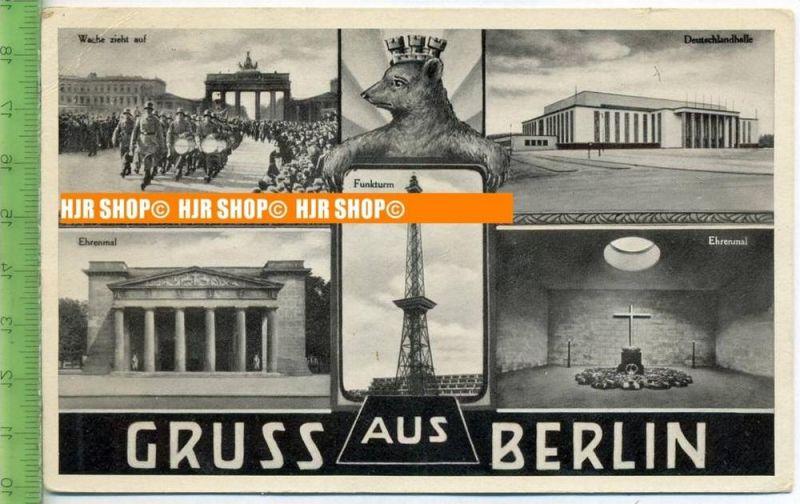 """""""Gruss aus Berlin""""  um 1920/1930    Ansichtskarte  ohne Frankatur, mit Stempel,"""