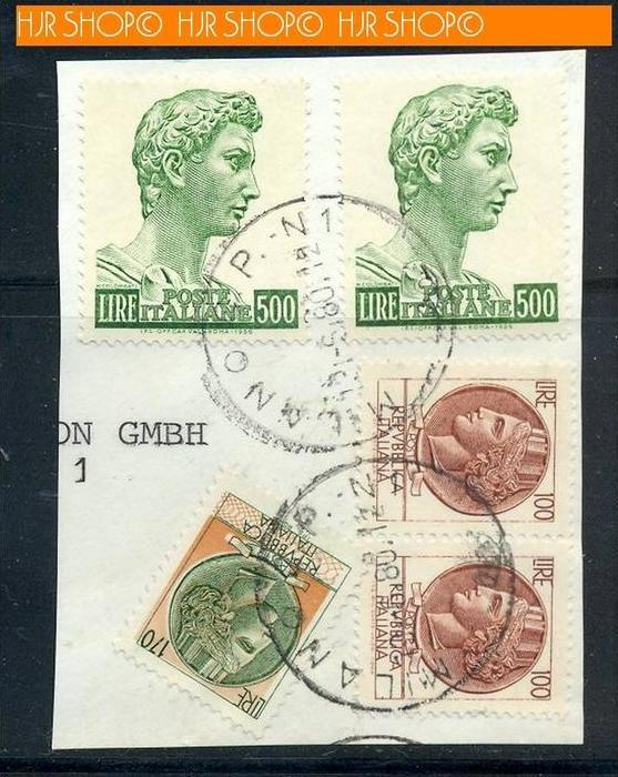 180,Briefstück mit Marken und Stempel