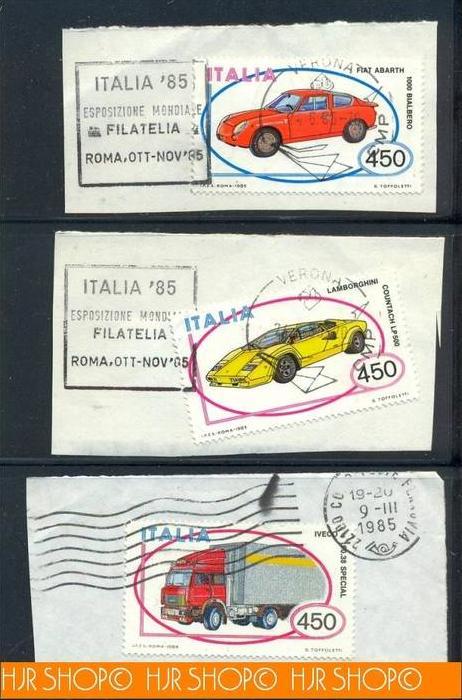 1985,Briefstücke mit Marken und Stempel