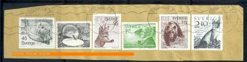 1983,Briefstück mit Marken und Stempel