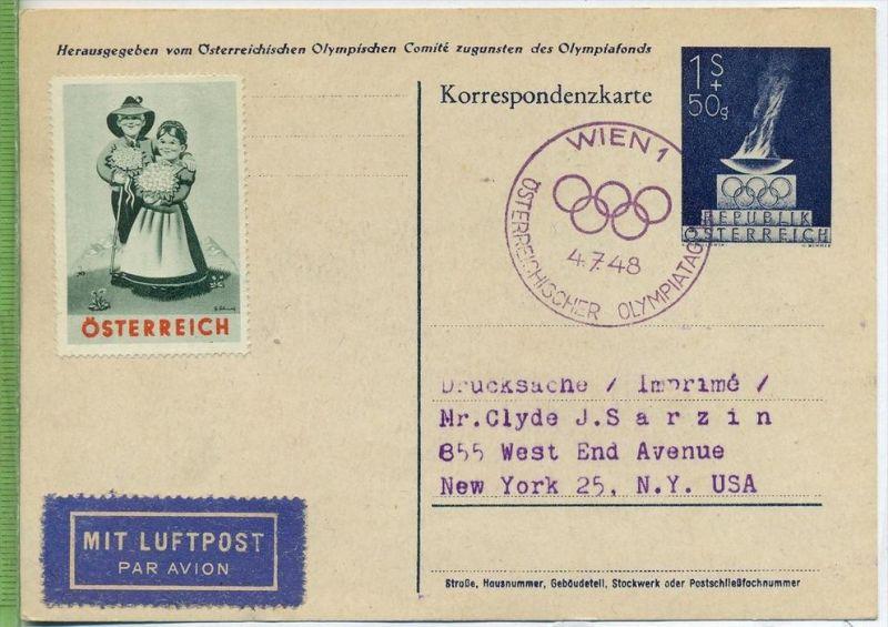 1948, Olympische Spiele London  Verlag: Korrespondenzkarte, MiNR. 854 mit Frankatur, mit Stempel , Wien  4.7.48 verso. V