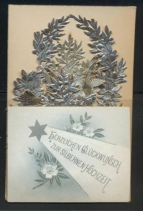 15 Juni 1894-Herzlichen Glückwunsch zur silbernen Hochzeit  Faltkarte mit Silberdekoration bestückt Maße: 11 x 7,2 cm Er