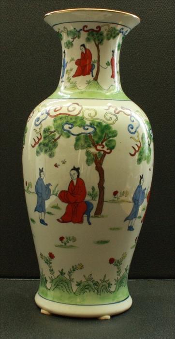 CHINA-Porzellan -Balustervase 20. Jhd. Marke: rote Siegelmarke Sehr schöne Motive gemalt in Aufglasur Mit Goldrand Maße: