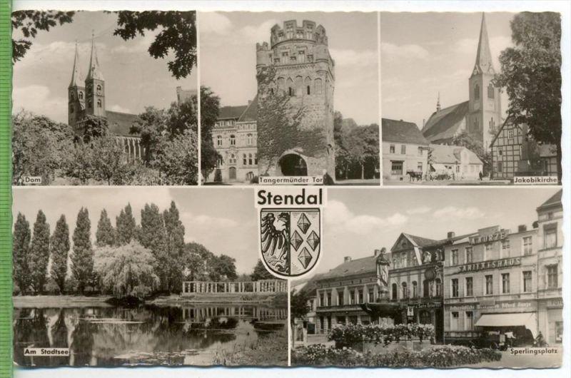 Stendal, fünf Felderkarte um 1960/1970 Verlag: VEB Bild und Heimat, POSTKARTE mit Frankatur, mit Stempel, STENDAL, 25.11