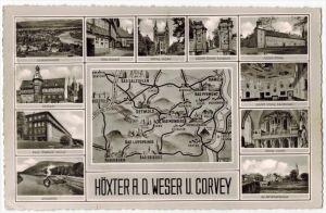 Höxter und Corvey, Mehrfeldkarte um 1950/1960 Verlag:,  POSTKARTE,  mit Frankatur, mit Stempel,  HOLZMINDEN 7.8.59  Erha