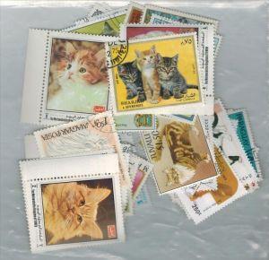 50 x Briefmarken, Hauskatzen Zustand: I-II