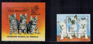 2 x Briefmarkenblöcke, Hauskatzen Zustand: I-II