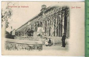 Bad Elmen, Springbrunnen am Gradirwerk Verlag: Carl H. Odemar, Magdeburg, Postkarte mit Frankatur,  mit Stempel, MAGDEBU
