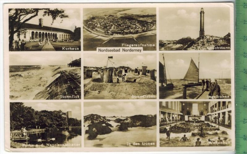 Norderney, Nordseebad Verlag:Hamb. Luftb., R.L.M. freigeg.  Postkarte mit Frankatur und Stempel, NORDSEEBAD NORDERNEY 3.