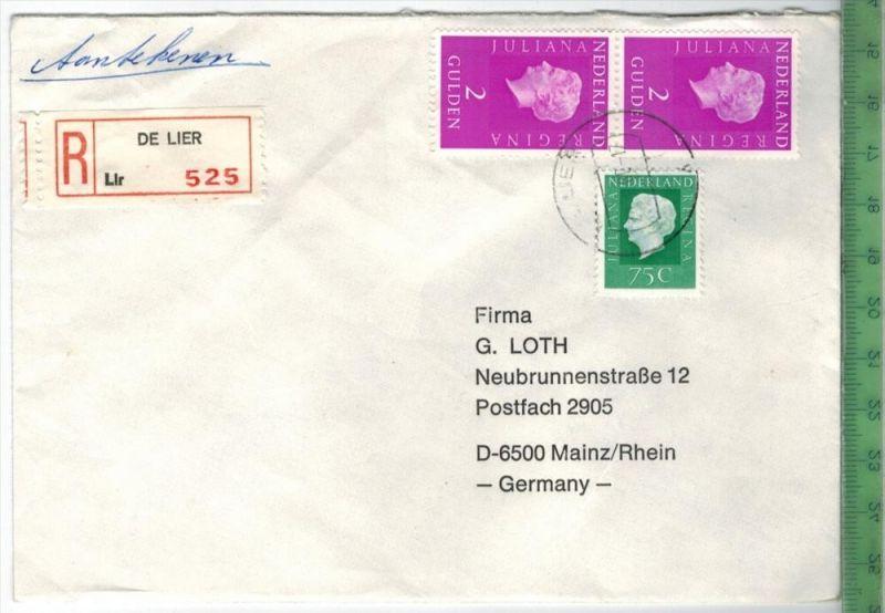 1980, Niederlande MiF, auf Brief, mit EinschreibenBrief gelaufen, 27.8.80 gestempeltGröße: 16 x 11,5 cmZustand: I-II (H)