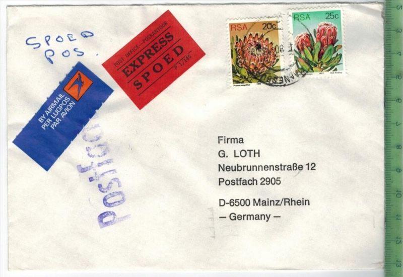 1980, Südafrika, MiF, auf Brief, mit Express Brief gelaufen, 21.1.80 gestempelt Größe: 16 x 11,5 cm Zustand: I-II (H) Wi