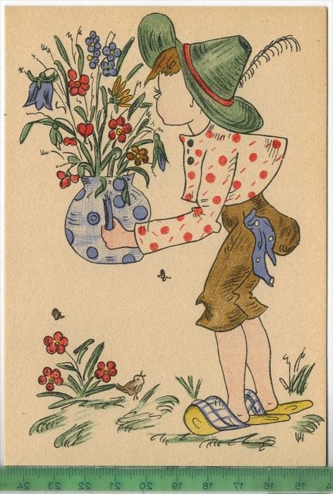 Künstlerkarte, KindVerlag: Meindl & Kittstener, München-Pasing PostkartePublication authoriz by 6870 DICC. US ARMY,
