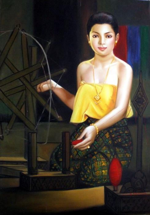 Asien - Malaysia 1970Junge Frau am SpinnradÖl/Lwd., auf SpannrahmenUnten rechts Signiert: S. KountheaMaße: 100 x 69 cm.Z