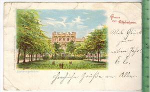 Wilhelmshaven, Stationsgebäude 1899 Verlag: Leo kempner & Co., Hamburg, POSTKARTEmit Frankatur. mit Stempel WILHELMS