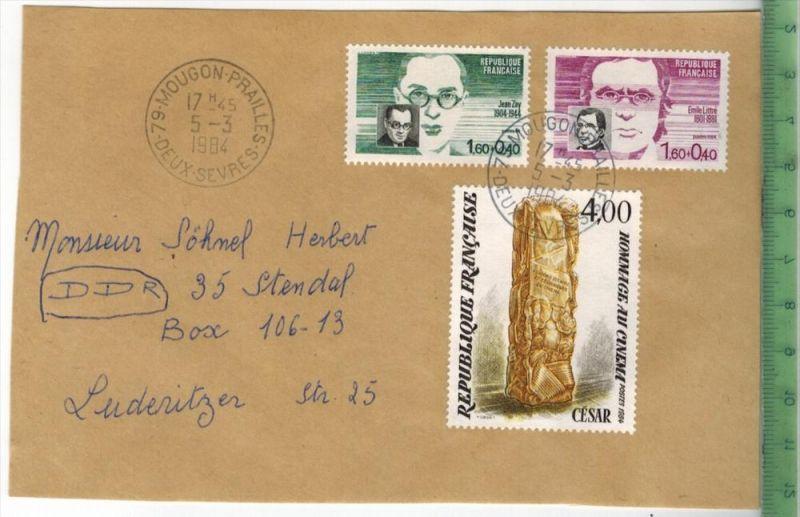Frankreich 1984, MiF, 2 x Stempel , MOUGON 5.3.1984BriefvorderseiteZ ustand: Gut
