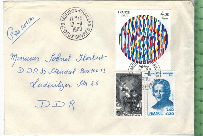 Frankreich 1980, MiF,2 x Stempel , MOUGON 17.2.1980Zustand: Gut