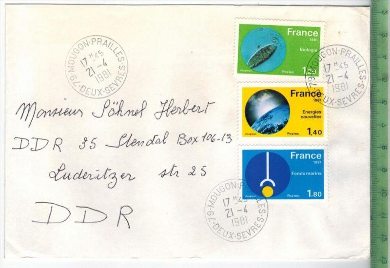 Frankreich 1981, MiF, 3 x Stempel , MOUGON 21.4.1981Zustand: Gut